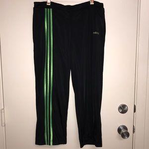 Adidas 3-Stripe Crop Track Pant Black Lime Green